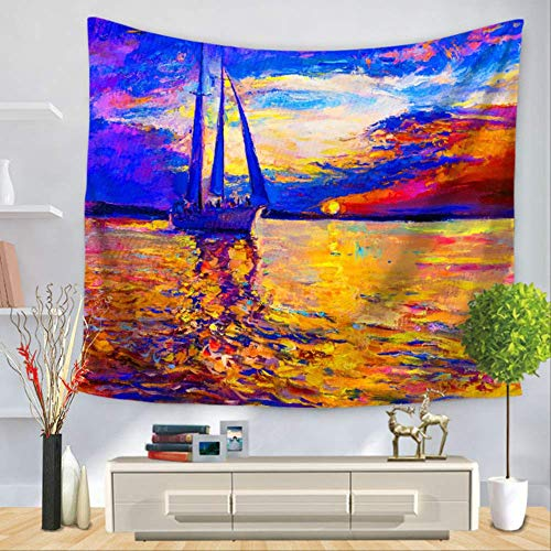N/ TapizBoats Tapestry Ships Wall Hanging Picnic Home Decoration Ship Cat Blanket Large 75cmx90cm 3