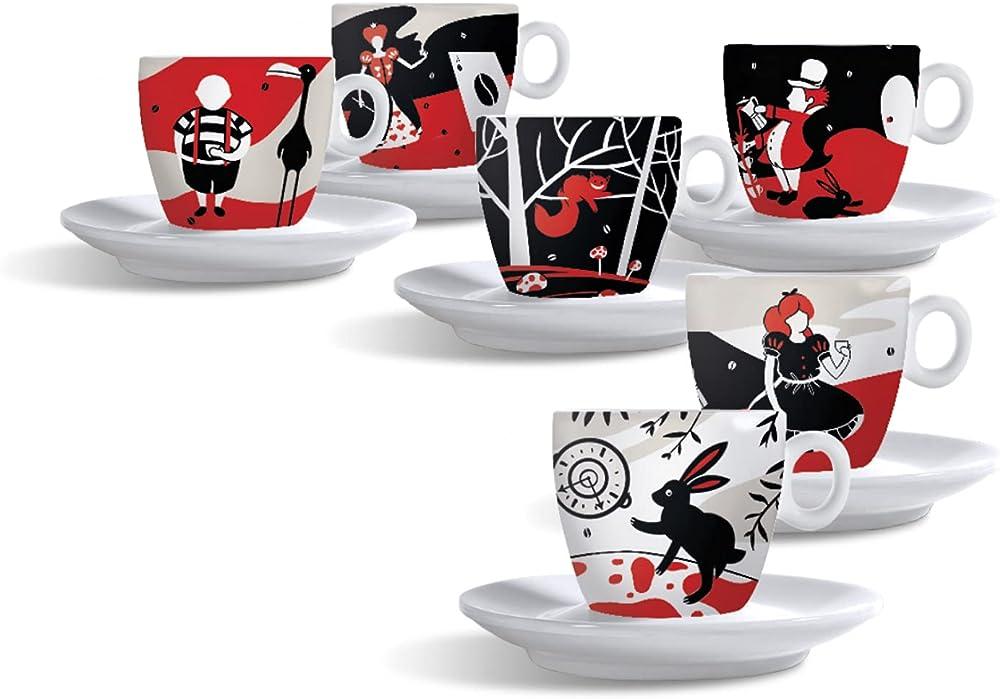 Caffe molinari , 6 tazze da cappuccino, collezione alice, edizione limitata , in porcallana 10079