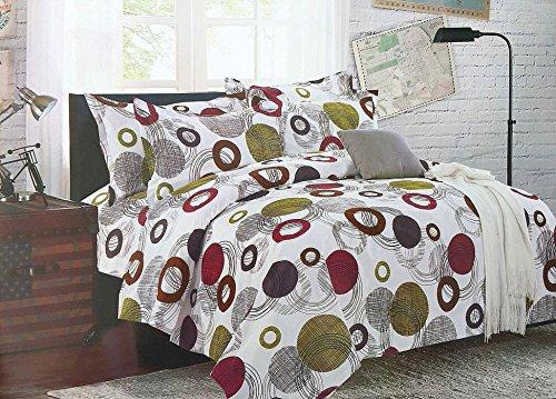 Bullahshah círculos, Puntos y diseño Abstracto Funda nórdica Juego de Cama con Fundas de Almohada, Blanco/Verde/marrón/Magenta (Doble)