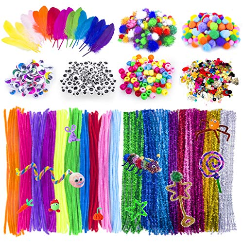 Adkwse Art and Crafts Supplies -Assorted Craft Art Supply Kit, Pipe Cleaners, Pompoms, Sequins, Pony Beads,Colorful Feather, Google Eyes,for Kids School DIY Projects Activities Supply (1000Pcs)
