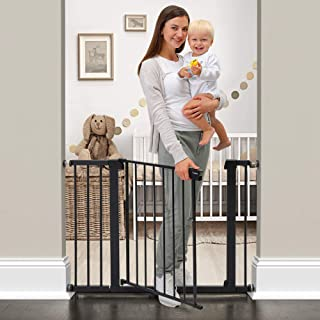 "Cumbor 43.3""Auto Close Safety Baby Gate, Extra Tall and Wide Child Gate, Easy Walk Thru Durability Dog Gate for The House, Stairs, Doorways. Includes 4 Wall Cups, 2.75-Inch and 8.25-Inch Extension"