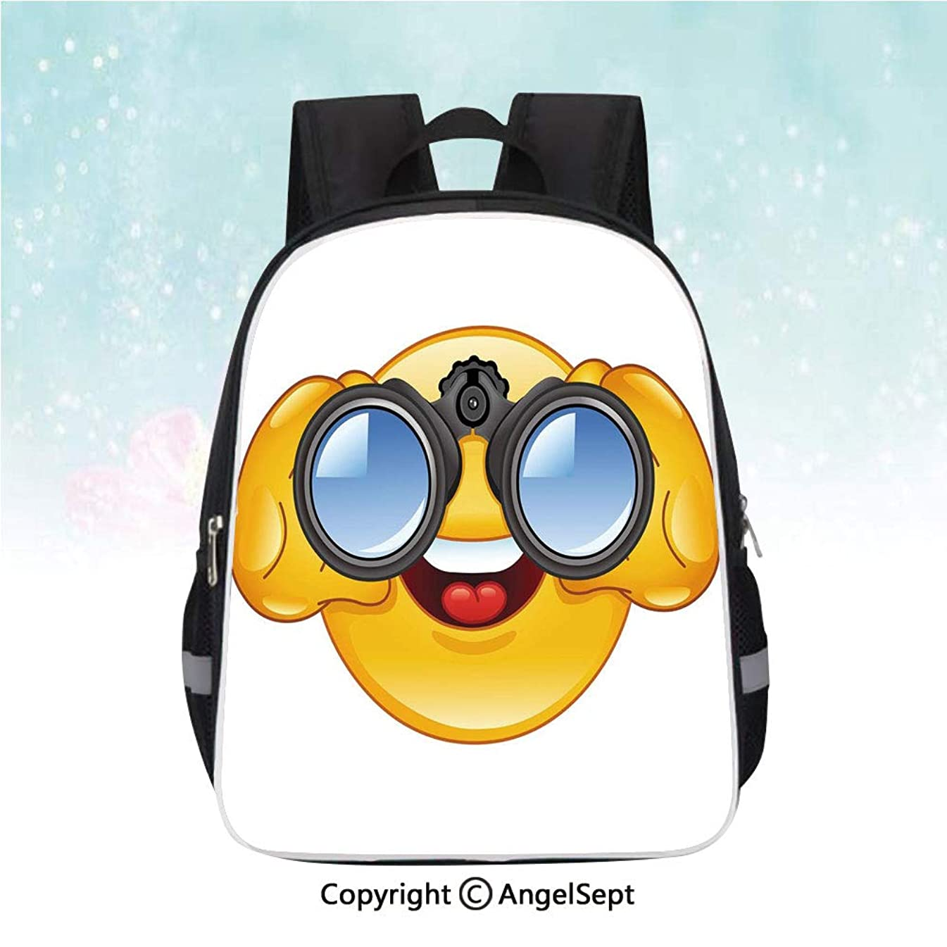 Nylon Fabric Backpack,Smiley Face with a Telescope Binoculars Glasses Watching Outside Cartoon Print,13