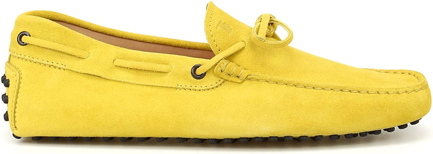 Tod's Lace Detail Suede Suede Suede Loafers yellow men
