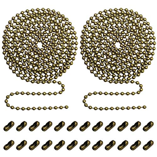 Beaded Pull Chain Extension with Connector for Ceiling Fan or Light (Pack of 2) 10 Feet Beaded Roller Chain with 12 Matching Connectors Each (3.2mm Diameter, Bronze)
