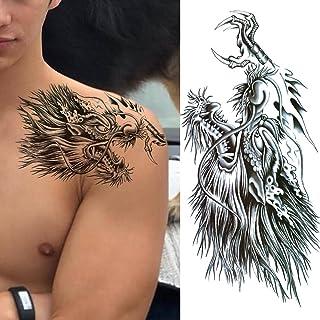 Tijdelijke Tatoeages 3 Vellen Realistische Draak Fake Tattoo Stickers Voor Mannen Jongens Kids 3D Fierce Wolf Eagle Tijdel...