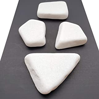 Capcouriers Flat White Painting Rocks - Rocks for Painting - Santorini Stones - 4 Painting Rocks (About 2-3.25 inches in Length)