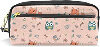 ALAZA Smiggle Pencil Pouch Case Owl Fox Bird Makeup Cosmetic Bag Pen Holder for Kids Teens Boys and Girls