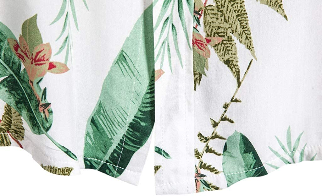 Cotton Beach Shirt for Men, Misaky Summer Casual Palm Trees Print Short Sleeve Button DownTshirt for Holiday