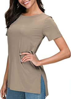 d2abee462786 Herou Women's Casual Round Neck Short Sleeve Loose Long T-Shirt Tunic Tops  with Side