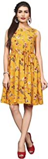 New Ethnic 4 You Floral Printed Knee Length Dress for Women_frk151