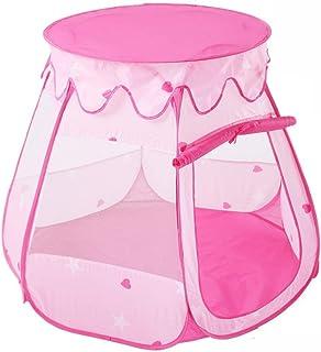 Leksakställe, pojkar flickor rosa sexsidig nät andas tält små inomhus söt vikbar prinsessa stor lekstuga tipi spel hus pre...