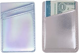 Two Pack Phone Credit Card Holer Pocket Wallet PU Leather Holographic Iridescent Double Slots Adhesive Pouch Sleeve Sticker on Most of Smartphones (Rose Gold&Silver)