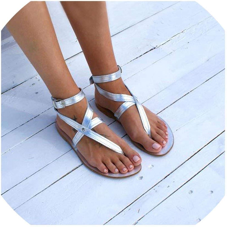 Tcvncfshfs Casual Beach shoes Woman Pu Buckle Summer shoes