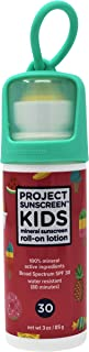 PROJECT SUNSCREEN Kids Sun Protection SPF 30 Zinc Oxide Mineral ROLL-ON Stick, Face and Body Sensitive Skin, Lotion 3oz Pink