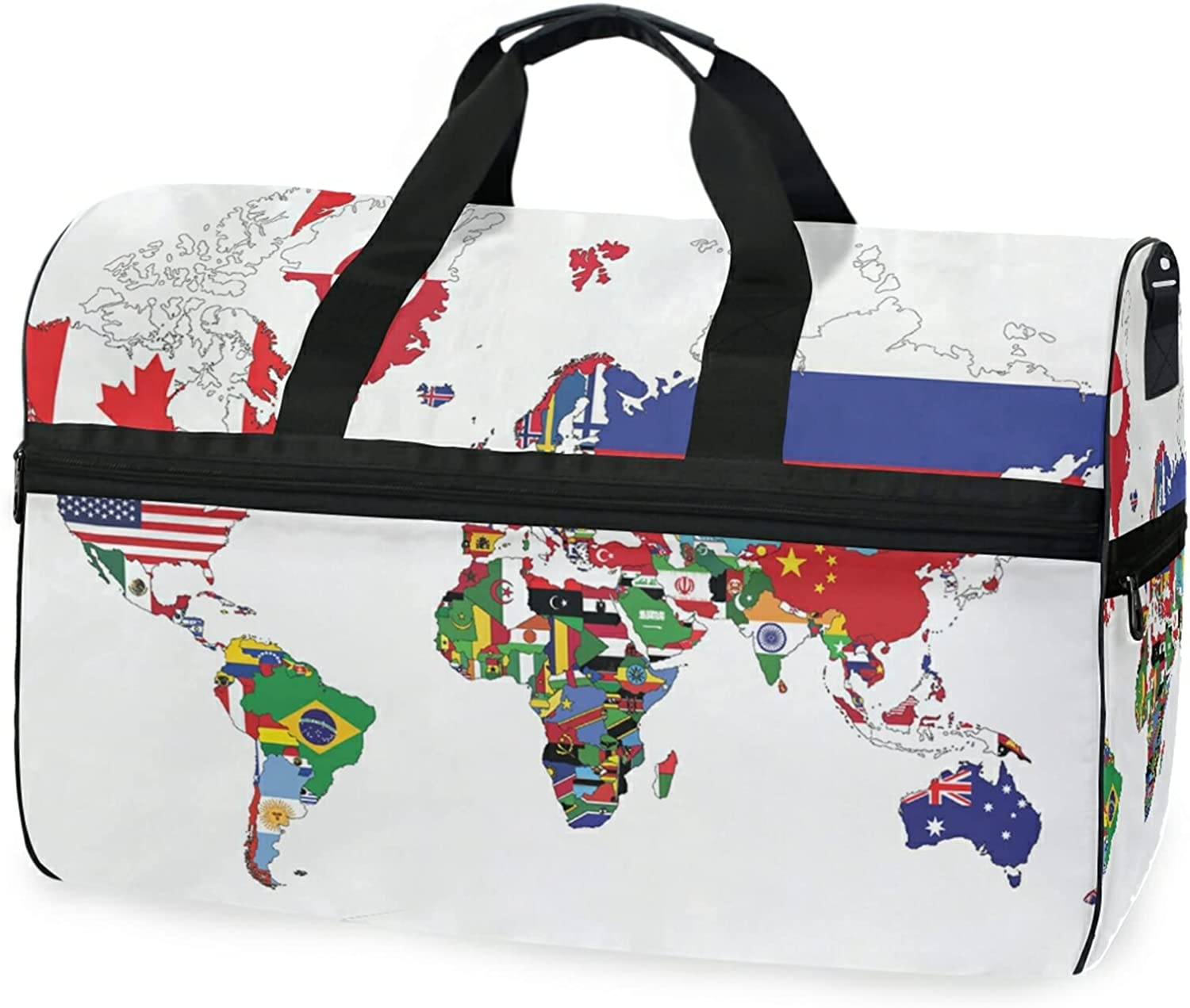 World Map With Country Flags Travel Houston Mall Luggage Gy Super popular specialty store Sports Bag Duffel