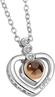 Dmitongz Men Custom Love You Necklace I Love You Necklace 100 Languages Heart Love Memory Pendant Necklace for Women | Amazon.com