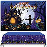 Decoración Halloween, Telón de Fondo de castillo fantasma, Mantel con patrón de calabaza y telaraña, Halloween Decoración Fiesta de Halloween, Navidad, cumpleaños, niño, niña