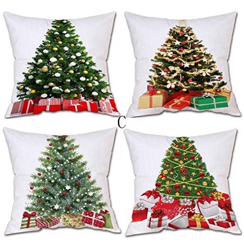 Kissenbezug Kolylong® 4 PC 45cm x 45cm Weihnachten Drucken Kissenbezug für Dekokissen Sofa Bett Heimtextilien Home Decor Festival Kissen Christmas Pillow Case (C, Red)