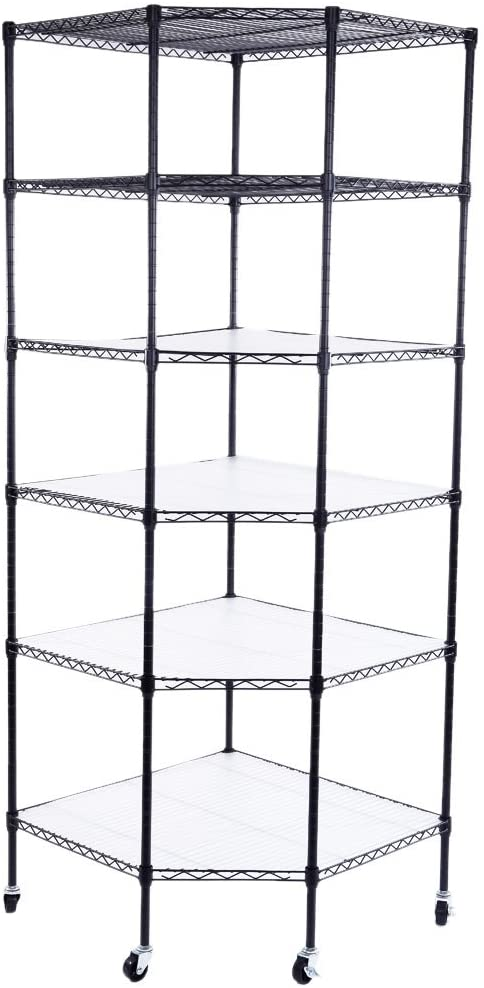 6 Tiers Chicago Mall Corner Shelf with Free Standing Wheels Metal Adjustable Beauty products