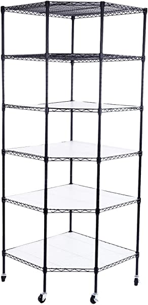 Coosun 6 Layer Chrome Plated Polygonal Corner Frame With Adjustable Metal Storage Shelves With Wheels For Living Room Bathroom Kitchen Black
