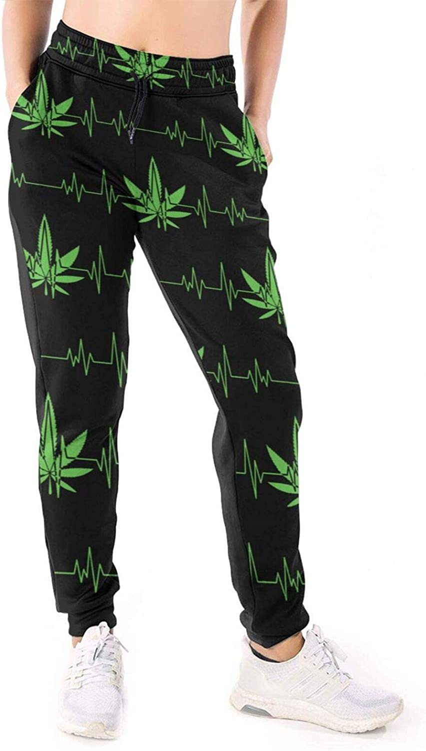 Women Joggers Pants Weed Marijuana Green Leaf Heartbeat Athletic Sweatpants with Pockets Casual Trousers Baggy
