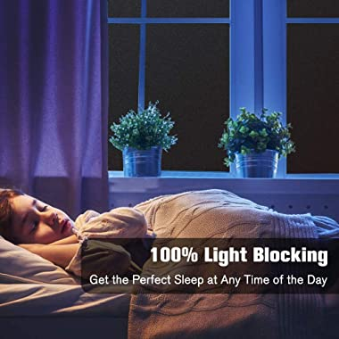 rabbitgoo Total Blackout Window Film Privacy Room Darkening Window Tint for Home, 100% Light Blocking Black Window Cover, Rem