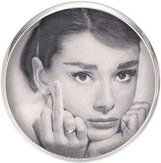 Spilla con perno in acciaio inossidabile, diametro 25 mm, spillo 0,7 mm, Fatto a Mano, Illustrazione Audrey Hepburn 2