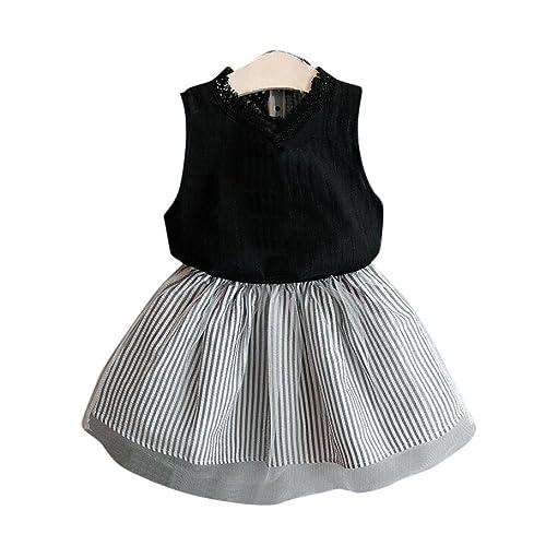 b04a4441d70d4 FeiliandaJJ Girls Clothes Set, Kids Toddler Girl Summer Cute Sleeveless  T-Shirt Tops Striped
