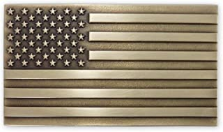 American Flag Solid Brass Belt Buckle Made in USA OBM175