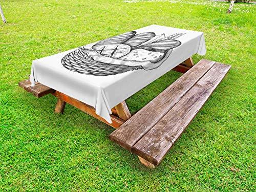 ABAKUHAUS Houtskool grijs Tafelkleed voor Buitengebruik, Broodsoorten in de mand, Decoratief Wasbaar Tafelkleed voor Picknicktafel, 58 x 84 cm, Wit