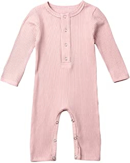 One Piece Outfits Baby Grey Striped Rompers with Button Kids Long Sleeve Playsuit Jumpsuits Pants Cotton Clothing