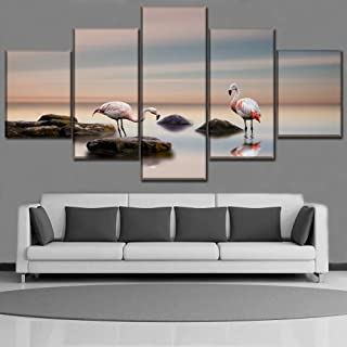 Shentop Imagenes Enmarcadas Impresión En Lienzo Decoración del Hogar 5 Piezas Pintura Flamingo Wall Art Animal Modular Office Research Photo Frame Artwork Poster-Marco