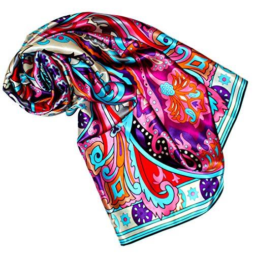 Lorenzo Cana - Luxustuch Seidentuch Tuch XL Satin Seidensatin Schal 110 x 110 cm reine Seide aufwändig mehrfarbig bedruckt bunt 8904277