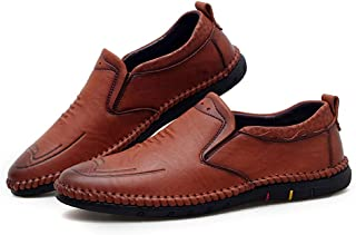 Men's Oxfords Stave Toe Categoric Heel Breathable Lace Up Slip On Business Leisure Shoes casual shoes (Color : Brown, Size : 43 EU)