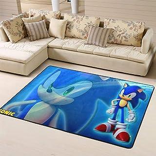 Zmacdk Sonic The Hedgehog - Alfombra para sala de estar (150 x 240 cm), diseño de sonic The Hedgehog Sega