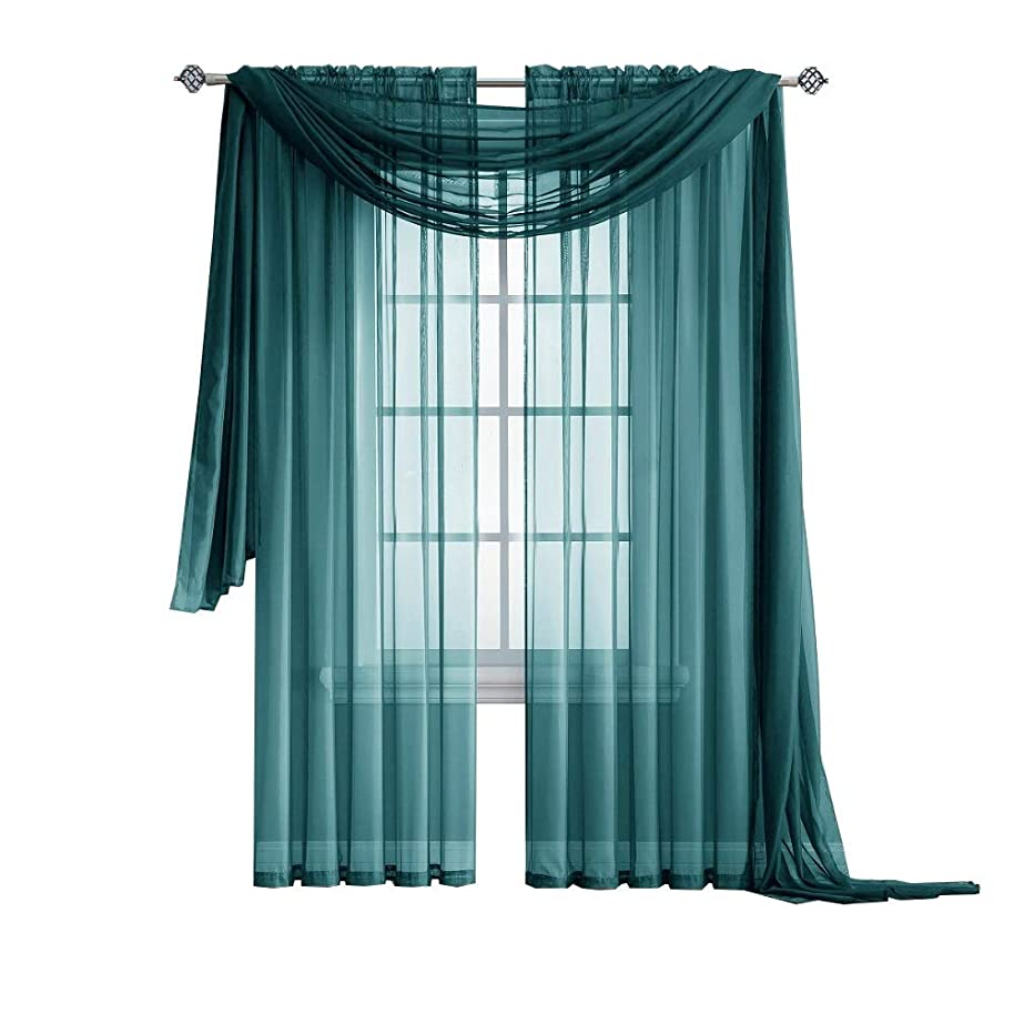 Warm Home Designs Extra Long Green Teal Sheer Window Scarf. Valance Scarves are 56 X 216 Inches in Size. Great As Window Treatments, Bed Canopy Or for Decorative Project. Color: Teal 216