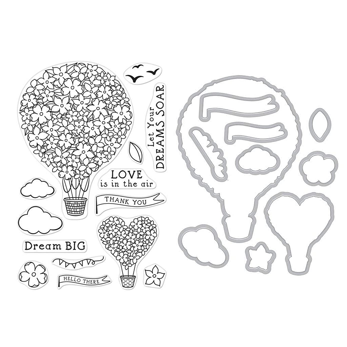 Hero Arts SB229 Stamp and Frame Cuts Combo Set, Hot Air Blooms