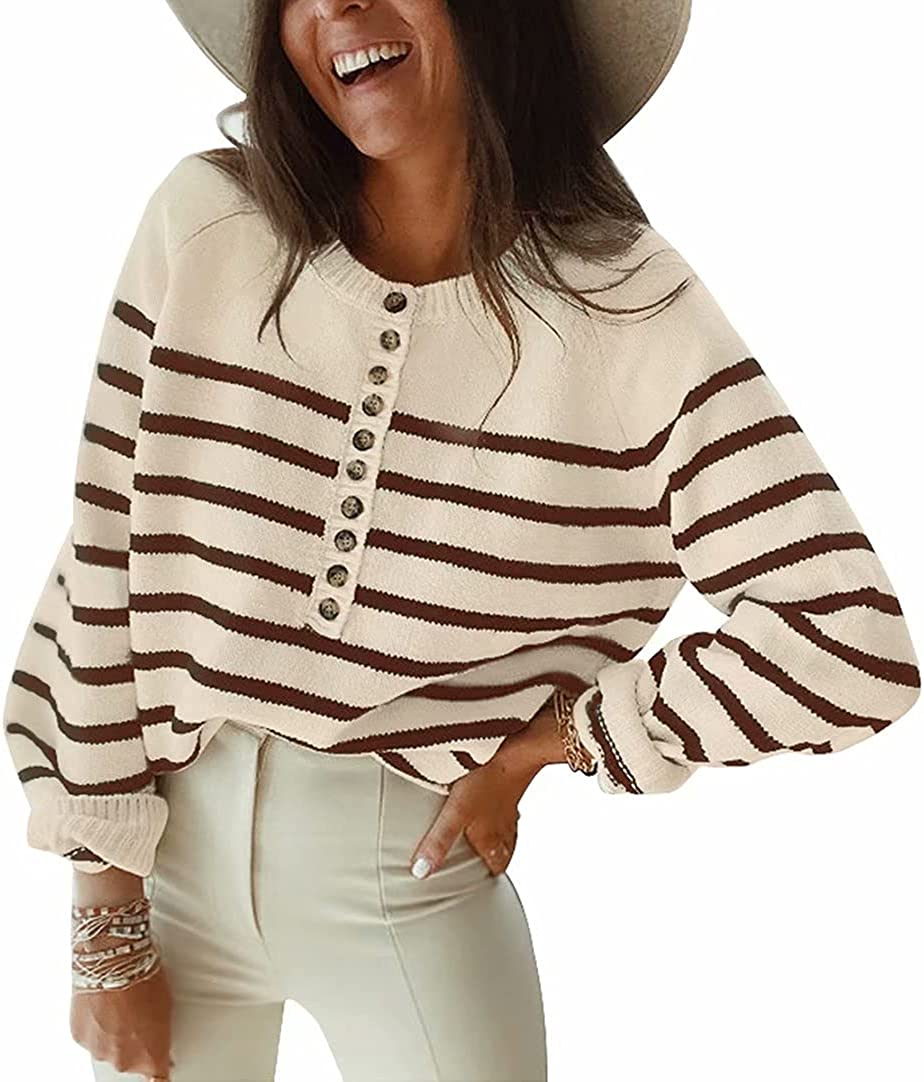 SUPRELOOK Women's Long Sleeve Striped Knit Sweater Casual Loose Crewneck Button Down Pullover Jumper Tops