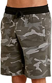 Abeaicoc Mens Running Gym Workout Shorts Camo Print Sport Casual Elastic Waist Shorts