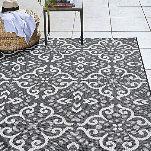 Gertmenian 22333 Outdoor Rug Freedom Collection Nautical Themed Smart Care Deck Patio Carpet, 8x10 Large, Floral Medallion Black and White