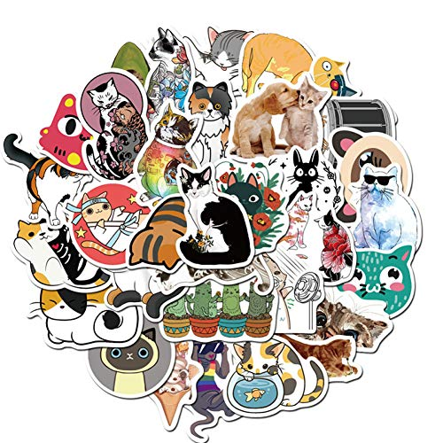 DQZOL 50 Pieces Cute Watercolor Animal Sticker Colorful Cat Waterproof Refrigerator Decoration Mixed Decals Laptop Sticker