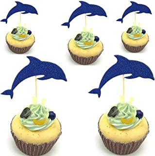 Hemarty Dolphin Cupcake Toppers, Aquarium Cake Topper, Under The Sea Theme Party Supplies, Dolphin Baby Shower Birthday Party Decorations24CT (Royal Blue)