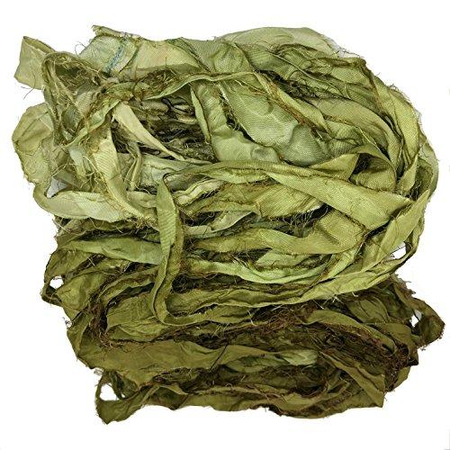 KnitSilk recyceltes Sari-Seidenband, sehr grob, Garn in Ombré, Duppioni-Seidenband, Taft-Seidenband, 50 g, 27 m, Seide, Olive Ombre, 1 Stück