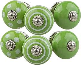 Keramiska möbelknoppar blandade set 6 st 068GN vit grön - handmålad porslinslåda drar skåpknopp handtag - Jay Knopf