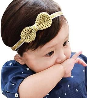 DZT1968 Baby Girl Bowknot Headband Hair Band Headwear (Gold)