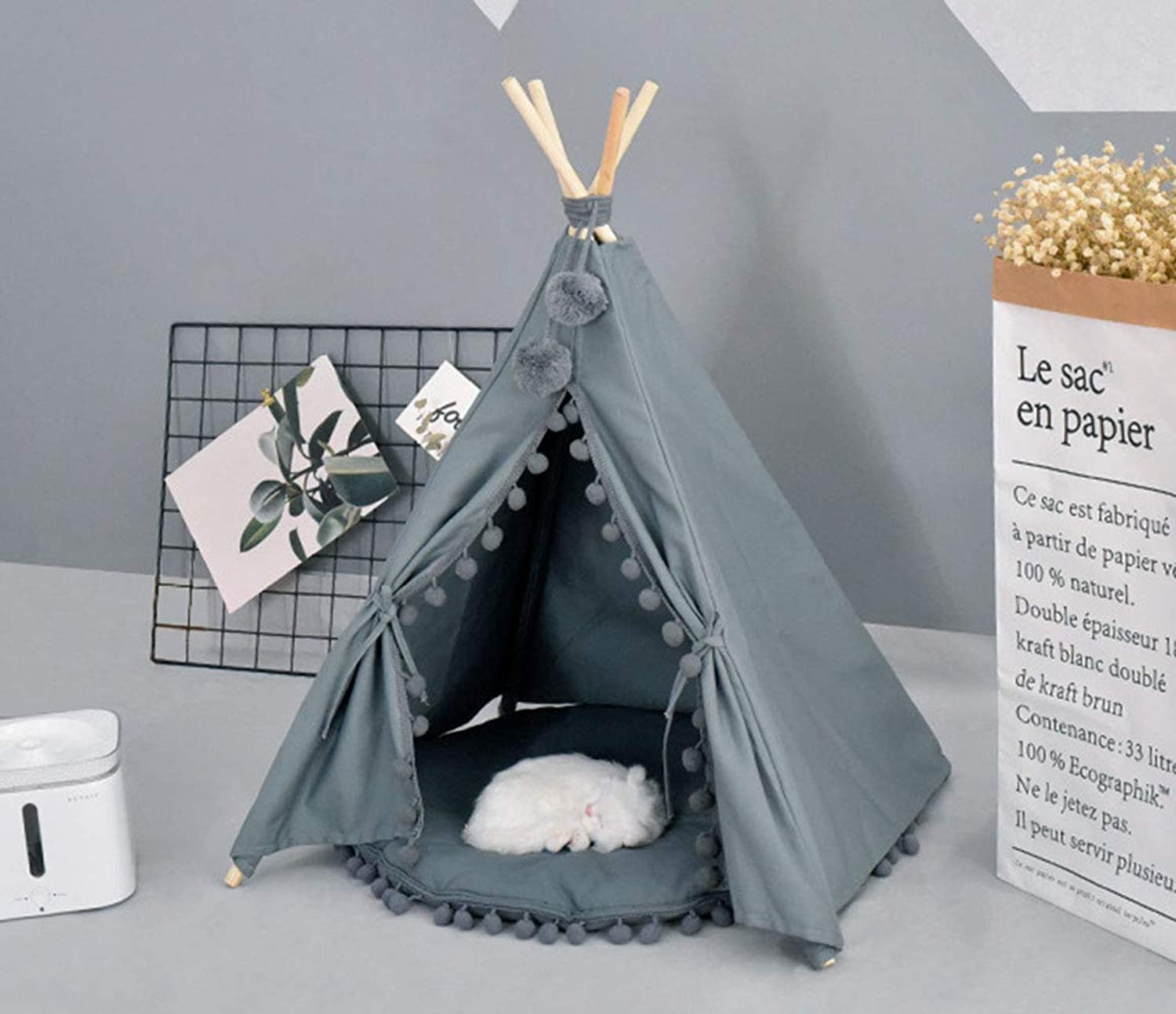 RIRUI Dog Tent, Pet Tent, Cat And Dog Universal, Removable And Washable Cotton Canvas, Comfortable, No Fading, No Shrinkage,Green,Nomat