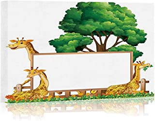 Board Template with Three Giraffes in Park Arts Canvas Print for Living Room Decoration,072643,36
