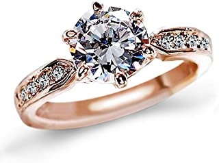 1.5 Carat CZ Diamond Cut Cubic Zirconia Engagement Rings for Women,Silver/18K Rose Gold Plated Dainty Promise Solitaire Wedding Ring Band