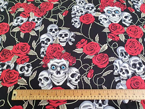 Oddies Textiles - Tela con Estampado de Calaveras y Rosas Rojas, 100% algodón, Material de Tela para Manualidades (CP821BLA)