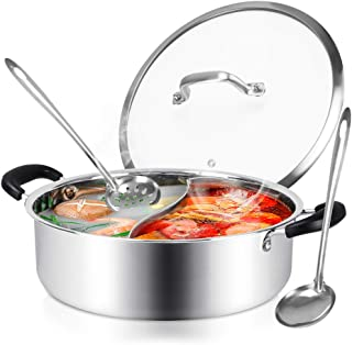 Hot Pot with Divider, Shabu Shabu Hot Pots Food Grade Stainless Steel Chinese Dual Sided Pot Set for Induction Cooktop Gas...